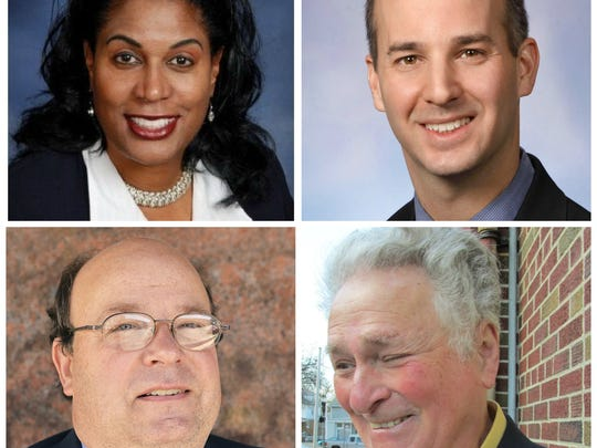 Four of five candidates for mayor in the Aug. 8, 2017 primary, clockwise from top left, Judi Brown Clarke, Andy Schor, Harold Leeman and Michael Gillenkirk. Missing is Danny Anthony Trevino.