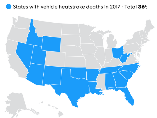 States that have the most children die in hot cars.