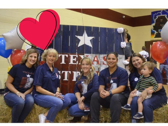 Calallen Middle School sponsors who coordinated the Texas Strong initiative: Kate Lopez, NJHS (left to right); Angie Moore, cheer; Danielle Maldonado, Student Council; Lamar Lopez, girls' athletics; Ann Huddelston and Kyle Criswell, Student Council