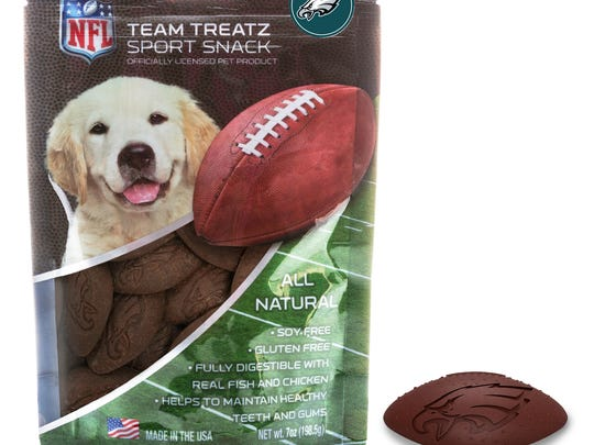 These NFL Philadelphia Eagles 7 oz. Dog Treats can help man's best friend to celebrate the Super Bowl. Give your favorite pooch a special Eagles treat with football- shaped dog snacks feature a Philadelphia Eagles bird logo and are made with rice flour, chicken and fish. Each pack of treats are $12.99. They are available online at Bed, Bath and Beyond, www.bedbathandbeyond.com.