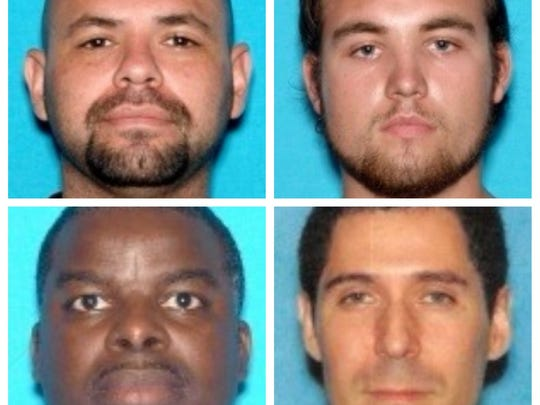 From left to right, clockwise: George Castillo, 36, of Inglewood, Calif.; Joseph Donohew, 26, of Brownsburg, Ind.; Donald Beckwith, 34, of Browns Mills, and Isaac Toney, 40, of Trenton.