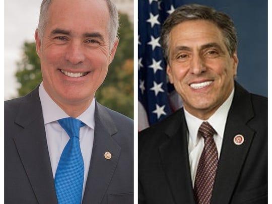 Incumbent Sen. Bob Casey, a Democrat, at left, will