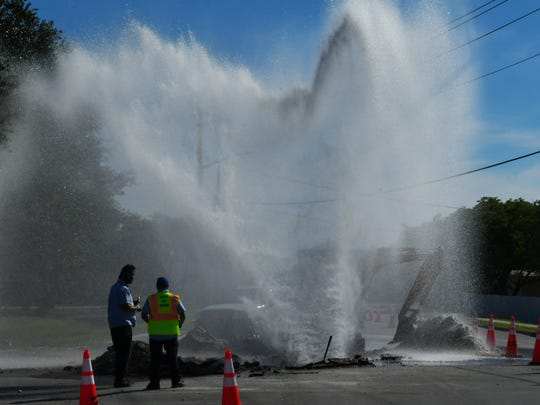 City of Cocoa crews recently at work on a water main break on Fiske Boulevard, just south of Dixon Boulevard. While crews were repairing the damage, water burst from a separate valve. Motorists were detoured around the damaged road.