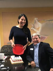 Then-Brevard County GOP vice chair Susan Hammerling presented chair Rick Lacey with a surprise birthday cake during a civility meeting at FLORIDA TODAY in 2017.