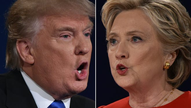 Republican nominee Donald Trump and Democratic nominee Hillary Clinton face off during the first presidential debate at Hofstra University in Hempstead, N.Y. on Sept. 26, 2016.