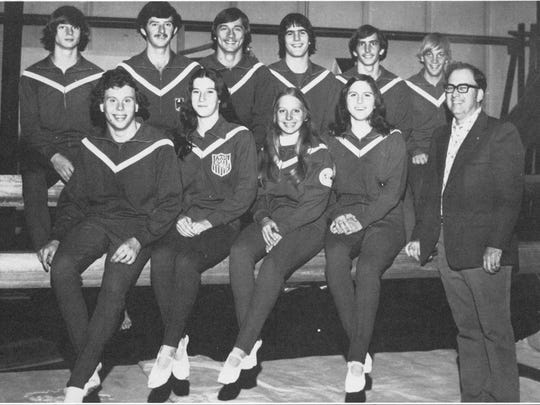 Former UL trampoline coach Jeff Hennessy, right, with his 1977 team, including world-famous daughter Leigh Hennessy, second from left on the bottom row.