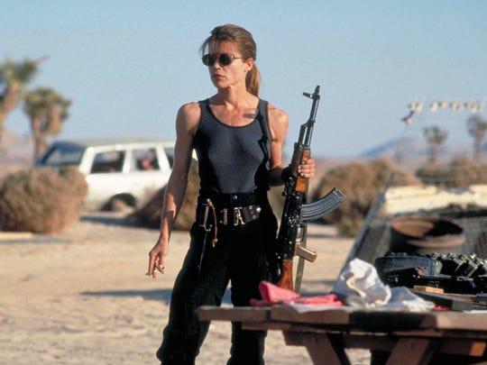 "Linda Hamilton in a scene from the 1991 film  ""Terminator 2: Judgement Day."""