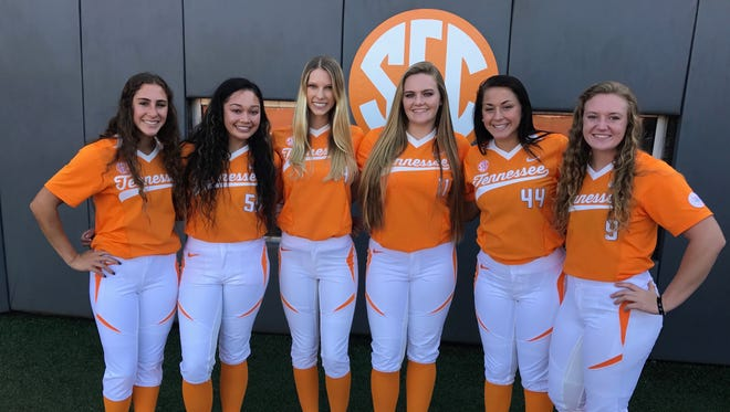 Tenness softball's 2018 signing class includes, from left to right, Kaitlin Parsons, Madison Pacini, Ally Shipman, Ashley Rogers, Gracie Osbron and Kaili Phillips.