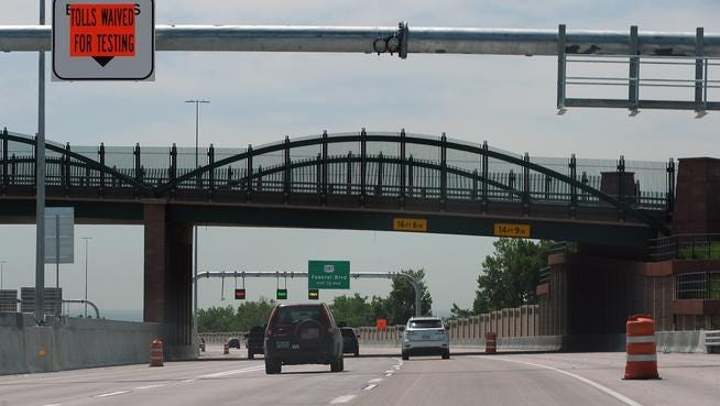 WESTMINSTER, CO. - JUNE 22: The U.S. Highway 36 express lanes project heading has officially completed Phase One. Eastbound traffic flows under bridge Monday morning between Sheridan and Federal Blvds. (Photo by Steve Nehf / The Denver Post)