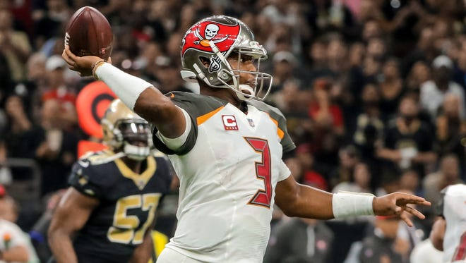 Buccaneers quarterback Jameis Winston, shown during a game Nov. 5, will not play this week against the Falcons.
