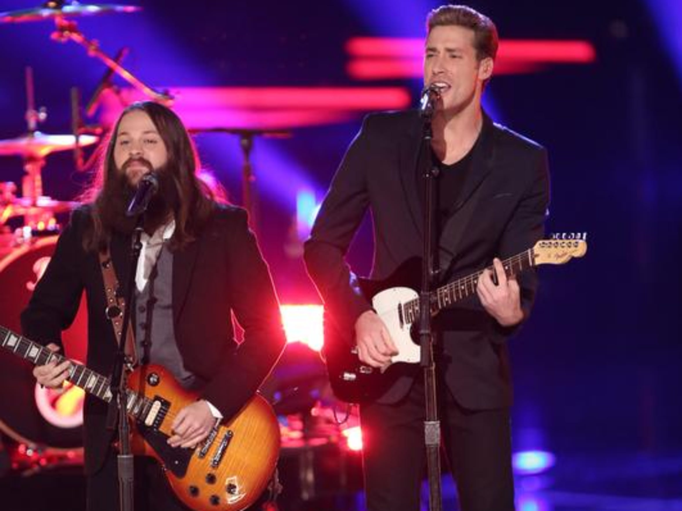 "Cole Vosbury, left ,and Ray Boudreaux perform in NBC's ""The Voice."""