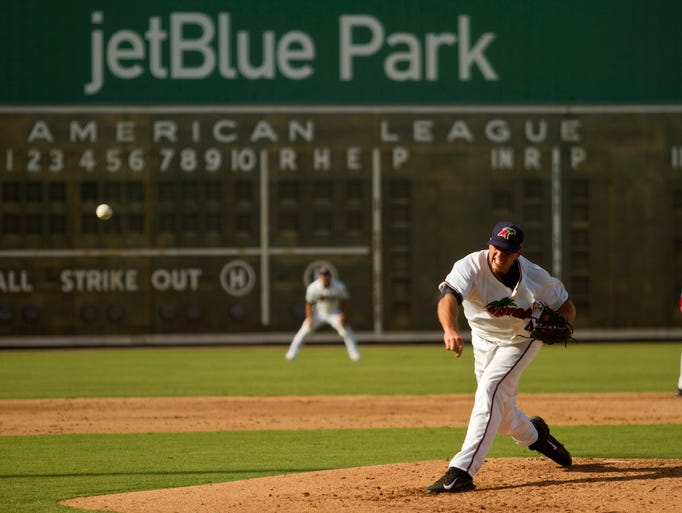 B.J. Hermsen of the Fort Myers Miracle pitches in the sixth inning of a game that was started at Hammond Stadium and suspended. The game was finished Tuesday at JetBlue Park. The Miracle will play the remainder of their season at JetBlue Park because of renovations at Hammond Stadium.