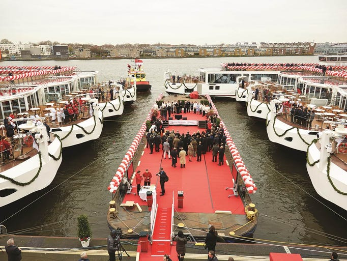 Viking River Cruises christened 16 ships over a 24-hour period beginning on March 17, 2014, setting a record for the cruise industry. Nine of the ships were christened simultaneously in Amsterdam on March 17, as seen in the photo above. Seven more ships were christened in Avignon, France and Rostock, Germany on March 18, 2014.