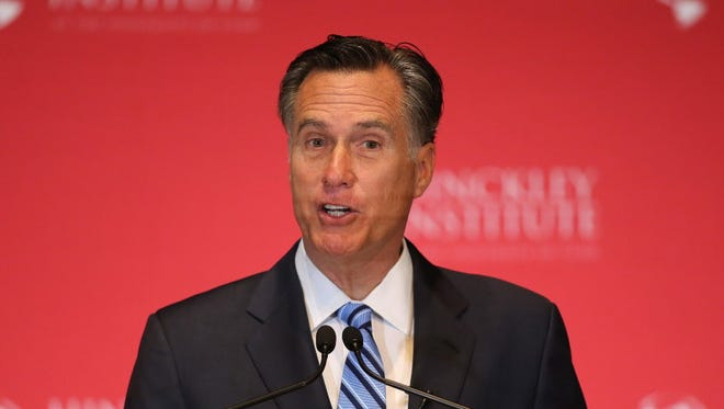 Former Massachusetts governor and 2012 Republican nominee Mitt Romney gives a speech at the Hinckley Instutite of Politics on the campus of the University of Utah on March 3, 2016.