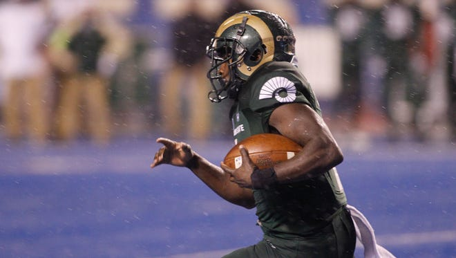 The success of CSU running back Dalyn Dawkins will be important if the Rams want to beat UNLV on the road Saturday.