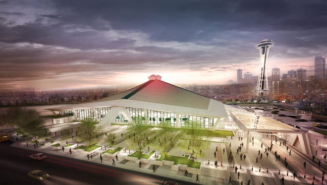 An exterior view of what Key Arena would look like under the remodel proposed by the Oak View Group. The group and the city of Seattle, which owns the arena, have an agreement that could lead to work being completed by fall 2020.