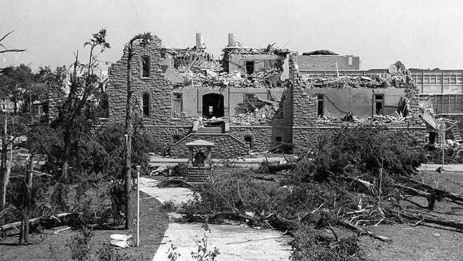 This week's History Guy video at CJOnline focuses on Washburn University President John Henderson, who led Washburn's recovery from a June 1966 tornado that destroyed hundreds of trees and five buildings on campus, including Rice Hall, shown here.