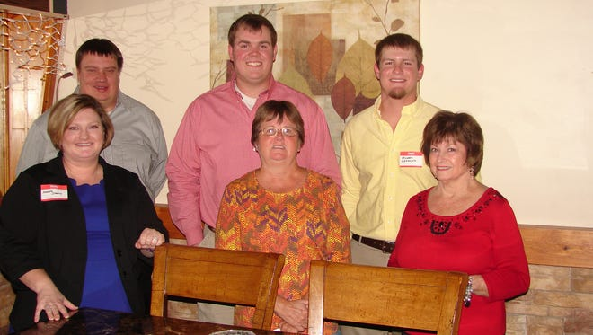 The Mountain Home Elks Lodge recently welcome six new members who were initiated into the Benevolent and Protective Order of Elks on Dec. 12. The new members are: (first row, from left) Amber Starkey, Clare Kuratnik, Roxanne Friend, (second row) Brandon Starkey, Hayden Robinson and Michael Wehmeyer. Stu Friend, President and Exalted Ruler, presided over the Rite of Initiation as approximately 30 members looked on. For more information about the Elks, please call (870) 425-0813.