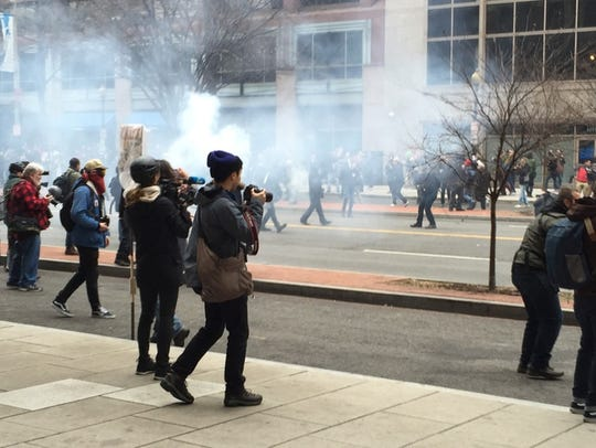 Police and protesters clashed on K Street Friday afternoon.