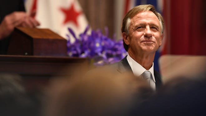 Gov. Bill Haslam acknowledges the crowd before delivering his State of the State address at the Tennessee State Capitol Monday, Jan. 29, 2018 in Nashville, Tenn.