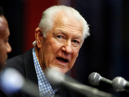Former Ohio State player John Havlicek during a news conference prior to a National Collegiate Basketball Hall of Fame induction event, Friday, Nov. 20, 2015, in Kansas City, Mo. (AP Photo/Colin E. Braley)