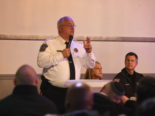 Bergen County Sheriff Michael Saudino speaks to participants