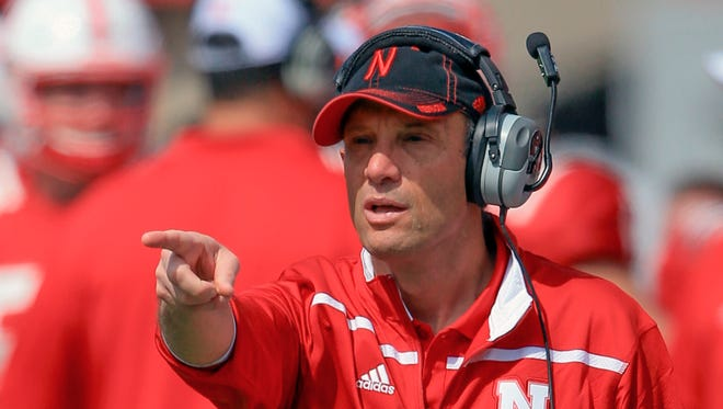 Nebraska head coach Mike Riley points during the annual NCAA college football Red-White spring game in Lincoln, Neb., Saturday, April 11, 2015.