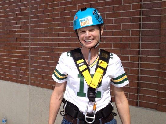 Photo Mary Burke -- lambeau leap