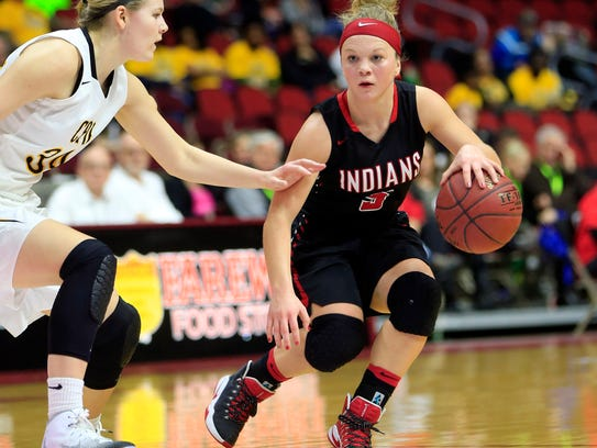 Pocahontas Area's Elle Ruffridge drives to the basket