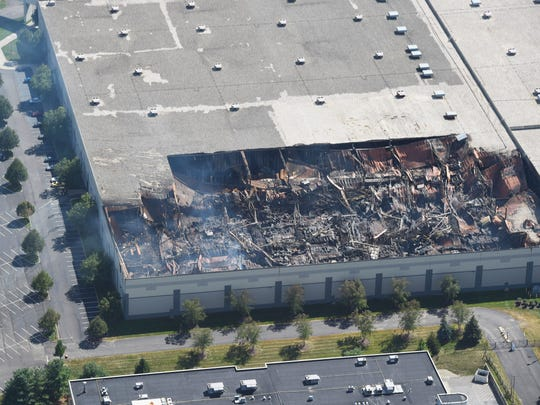 An aerial view of the Gap distribution center in Fishkill after a massive fire.