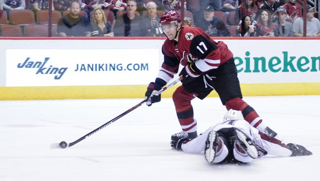 Oct 29, 2016; Glendale, AZ, USA;  Coyotes right wing Radim Vrbata (17) passes the puck during the second period against the Avalanche at Gila River Arena.