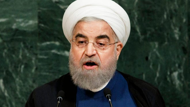 President Hassan Rouhani of Iran speaks during the General Debate of the 72nd United Nations General Assembly at U.N. headquarters in New York.