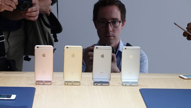 The iPhone 6S on display during Apple's event.