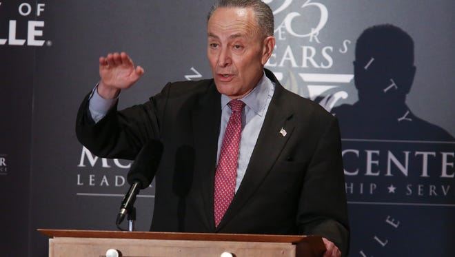 Sen. Chuck Schumer, D-NY, made remarks at the McConnell Center at the Univerity of Louisville.  Feb. 12, 2018