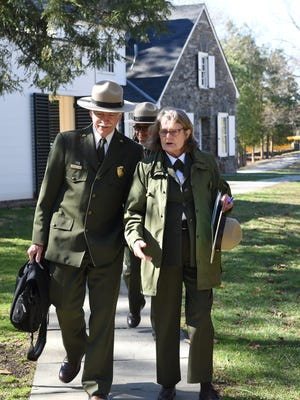 From left, National Parks Service director Jonathan Jarvis and Sarah Olson, Superintendent of the Roosevelt-Vanderbilt National Historic Sites, walk to meet local fourth graders at the Eleanor Roosevelt National Historic Site in Hyde Park in March.