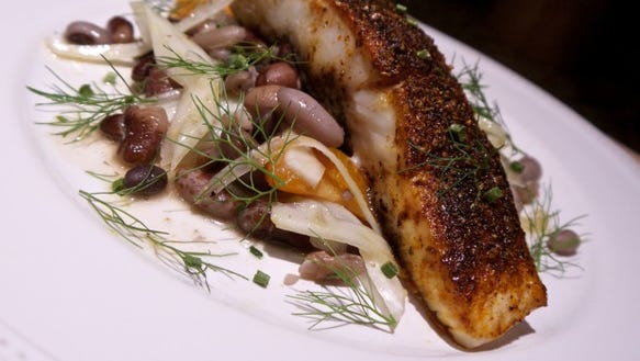 Spice-crusted Halibut over Mixed Bean, Fennel and Orange ...