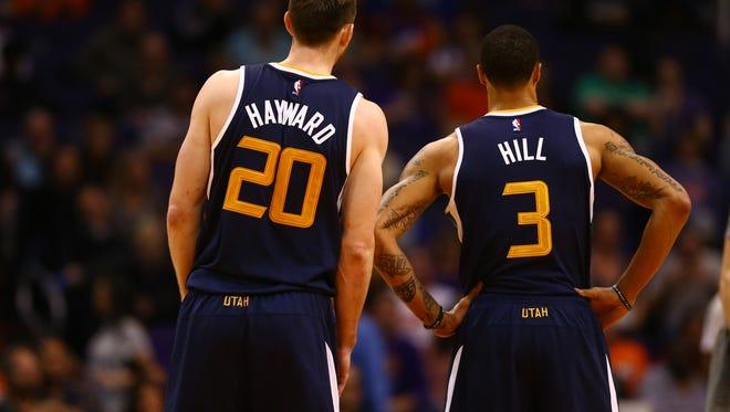 Utah Jazz forward Gordon Hayward (20) and George Hill (3) will be key free agents this offseason.