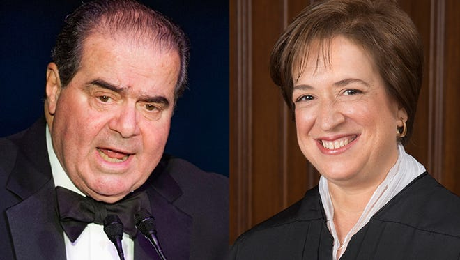 Justices Antonin Scalia (left)  and Elena Kagan