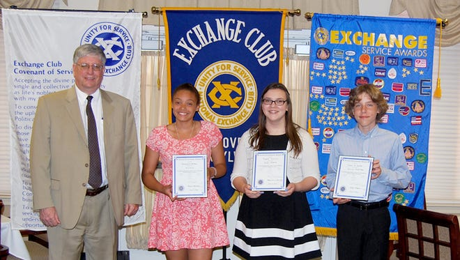From left, Ed Temple, Exchange Club of Hanover President, is shown with students who received Young Citizenship Awards for the 3rd Quarter: Ali St. Rose; Peyton Golowski; and Owen Smith.