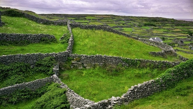 A view of the lattice work of stone fences and fields in Ireland.