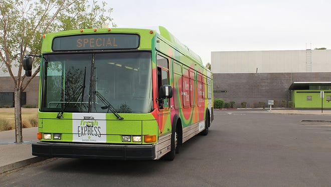 The Fresh Express bus makes about 20 stops a week at community centers, senior centers and elementary schools in Phoenix and Tempe.