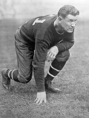 An undated photo of Jim Thorpe in a football uniform.