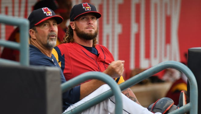 Catcher Jarrod Saltalamacchia, right, played last season with the Triple-A Toledo Mud Hens.