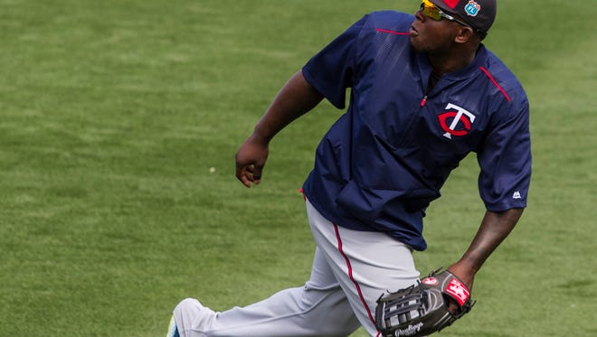 Minnesota Twins right fielder Miguel Sano fields a foul ball during the pre-game drills at jetBlue Park Thursday afternoon.