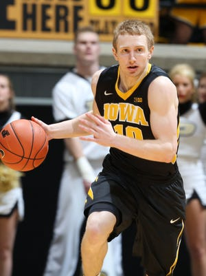 Iowa guard Mike Gesell committed no turnovers, scored 15 points on 6-for-8 shooting and had two assists in the second half. He scored Iowa's last 12 points, but the Hawkeyes fell 67-63 at Purdue on Saturday.