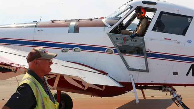 Single engine air tankers refuel at Ontario Air Base.