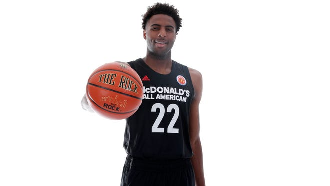 Mar 26, 2017; Chicago, IL, USA; McDonalds High School All-American center Mitchell Robinson (22) poses for a photo during the 2017 McDonalds All American Game Portrait Day at Chicago Marriott. Mandatory Credit: Brian Spurlock-USA TODAY Sports