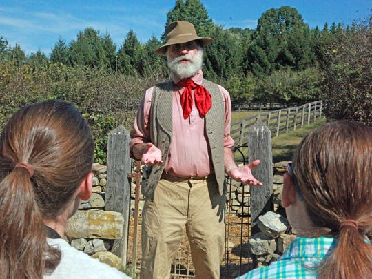 Shelton Browder demonstrates how humans entertained themselves thousands of years ago by being their own storytellers, at the Frontier Culture Museum's Folkways Festival on Sept.19, 2015.