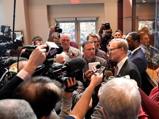 New York Giants owner John Mara speaks to the media after Pat Shurmur, the new head coach, held his first press conference in East Rutherford, NJ on Friday, January 26, 2018.