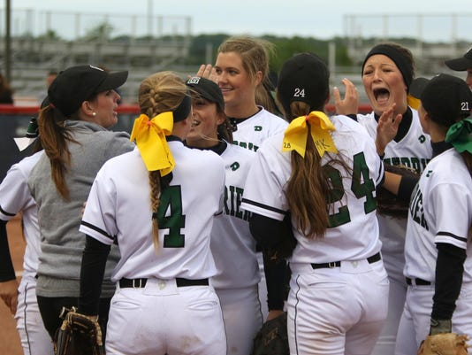 Greenbrier celebrates after getting out of the inning with runners on bases.